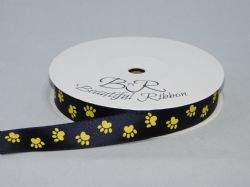 Black  with Yellow Paw Print  Satin or Grosgrain ribbon 2, 20 25 metres Double sided 16mm 15mm